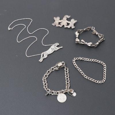 Sterling Silver Bracelets, Necklace and Save the Children Brooch, Vintage