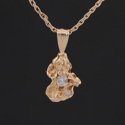 14K Yellow Gold Diamond Nugget Pendant Necklace