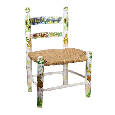 Child's Hand Painted Rattan Chair, Vintage