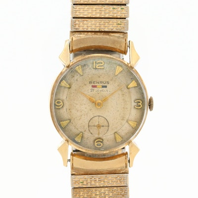 Benrus Stem Wind 14K Gold Wristwatch With Gold Filled Band