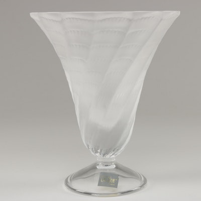 "Lalique ""Lucie"" Frosted Crystal Flower Vase"