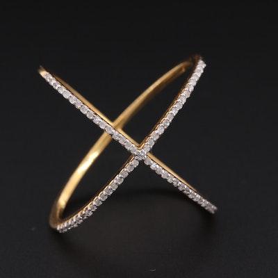 "14K Yellow Gold Diamond ""X"" Ring"