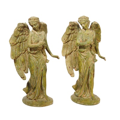 Plaster Angel Candleholders, Late 20th Century