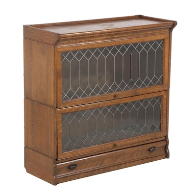 Oak Two-Stack Leaded Glass Barrister Bookcase, Late 19th Century
