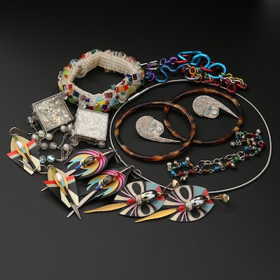 Assorted Resin and Glass Costume Jewelry Including Sterling Silver Earrings