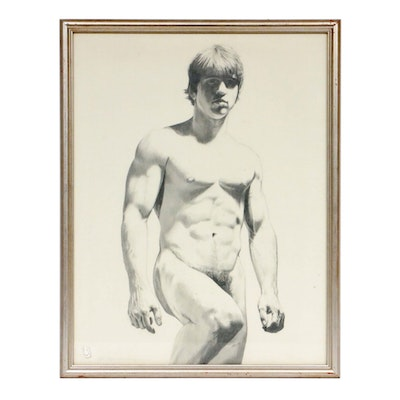 Eric Bellmann Nude Male Figure Charcoal Drawing