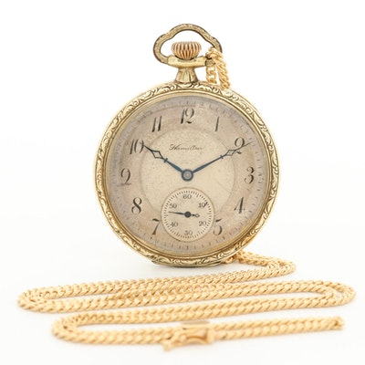 Vintage Hamilton Gold Filled Open Face Pocket Watch with 14K Gold Chain Fob