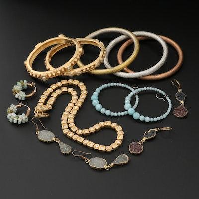 Assorted Rhinestone, Druzy, and Amazonite Jewelry Assortment