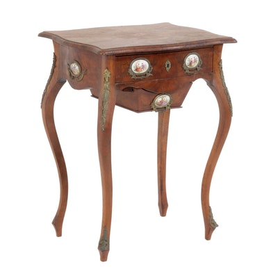 Louis XV Style Work Table with Painted Porcelain Medallions, 20th Century