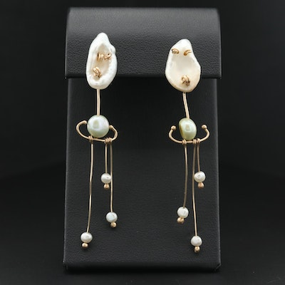 14K Yellow Gold and Baroque Pearl Dangle Earrings