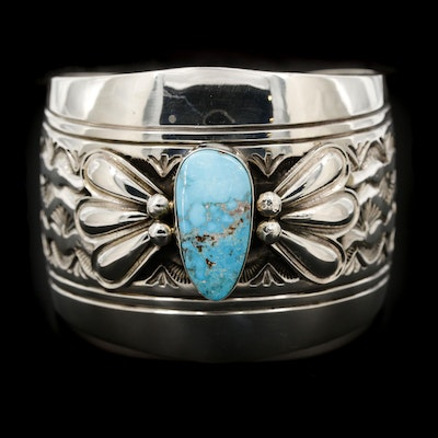 Lester Craig Navajo Diné Sterling Silver Turquoise Cuff Bracelet