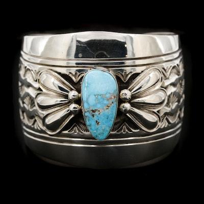 Lester Craig Navajo Diné Sterling Silver Turquoise Cuff Bracelet