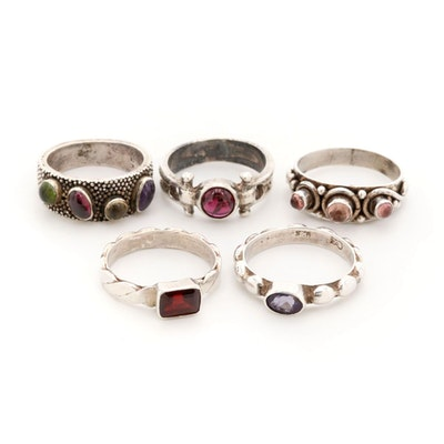 Sterling Silver Rings with Amethyst, Citrine and Peridot