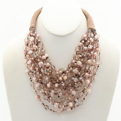 Cultured Pearl and Glass Collar Necklace