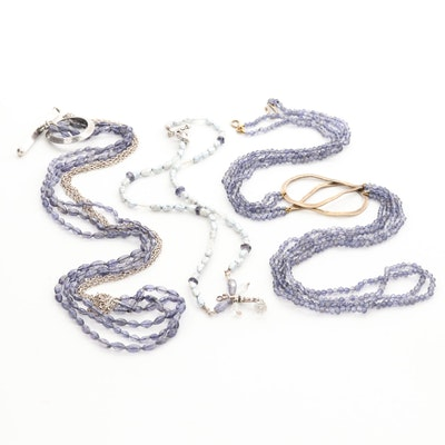 Beaded Iolite, Cultured Pearl and Blue Topaz Necklaces Including Sterling Silver