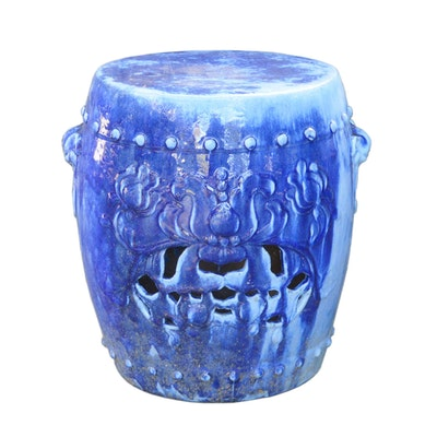 Blue Glazed Pierced Terracotta Garden Stool, Contemporary