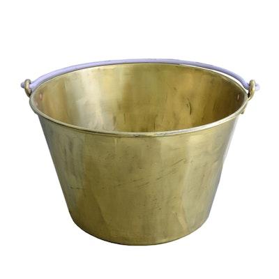 E. Miller & Co. Brass Firewood Bucket/Kettle, Antique