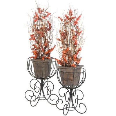 Iron Planter Stands with Lighted Artificial Autumn Floral Arrangement
