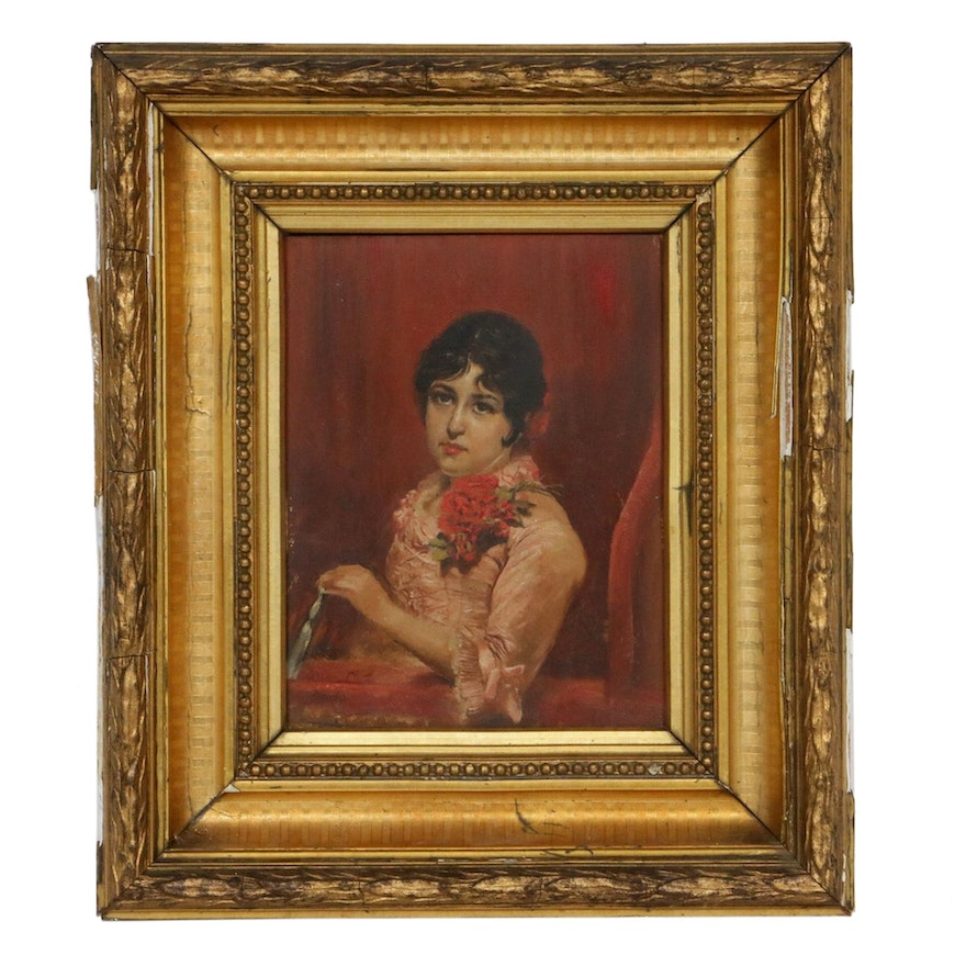 Portrait of Woman Oil Painting, Early 20th Century