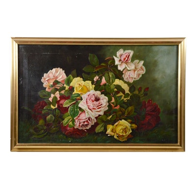 B.H. Oil Painting of Floral Still Life