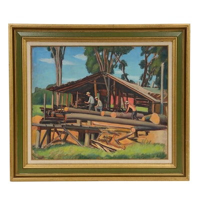 """Oil Painting """"Sawmill"""", Mid 20th Century"""