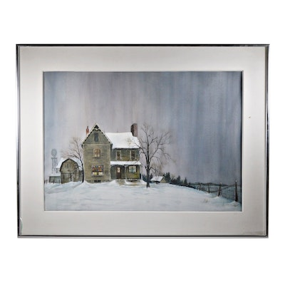 McGinnis Watercolor of Homestead Winter Scene