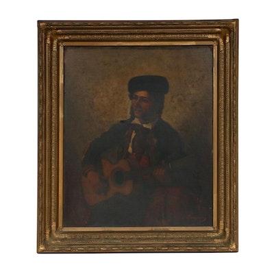 19th Century Spanish Musician Portrait Oil Painting