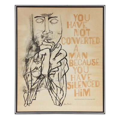 """Ben Shahn Color Lithograph """"You Have Not Converted a Man..."""""""