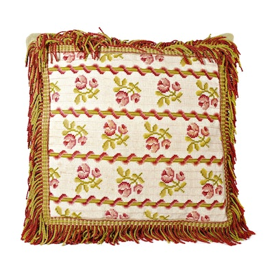 Needlepoint Textured Accent Pillow wtih Fringe