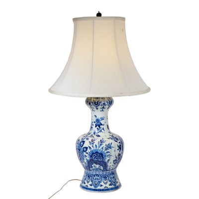 Chinoiserie Style Porcelain Vessel Table Lamp, Antique