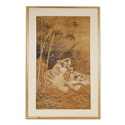 Chinese Style Silk Picture Needlework of Tigers, Early 20th Century