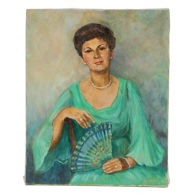 Nancy S. Heiskell Woman in Green Gown Oil Painting