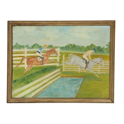 Naive Oil Painting, Mid 20th Century