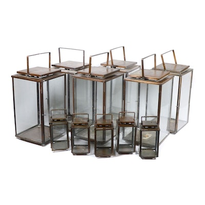 Bronze Tone Candle Lantern Collection, Contemporary