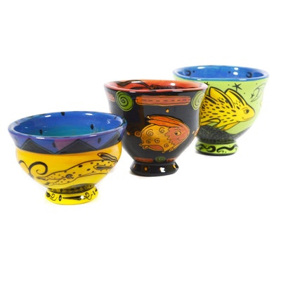 Terri Kern Hand-Painted Ceramic Art Bowls, Contemporary
