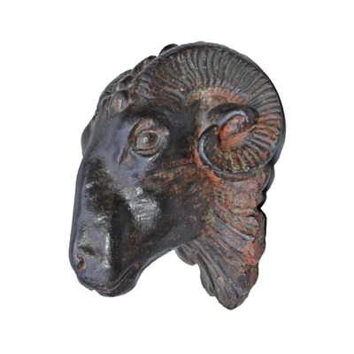 Cast Iron Rams Head Decor, Antique