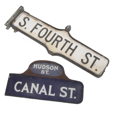 Street Signs Featuring New York City Canal Street at Hudson Street