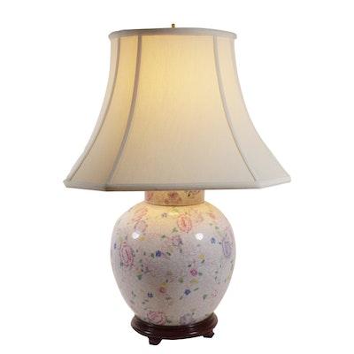 Hand Painted Porcelain Ginger Jar Table Lamp