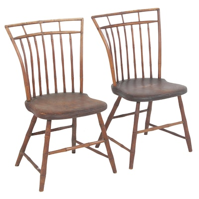 Birdcage Windsor Wood Side Chairs, 19th Century