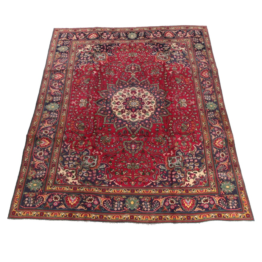 8'2 x 10'10 Hand-Knotted Persian Mashhad Wool Rug