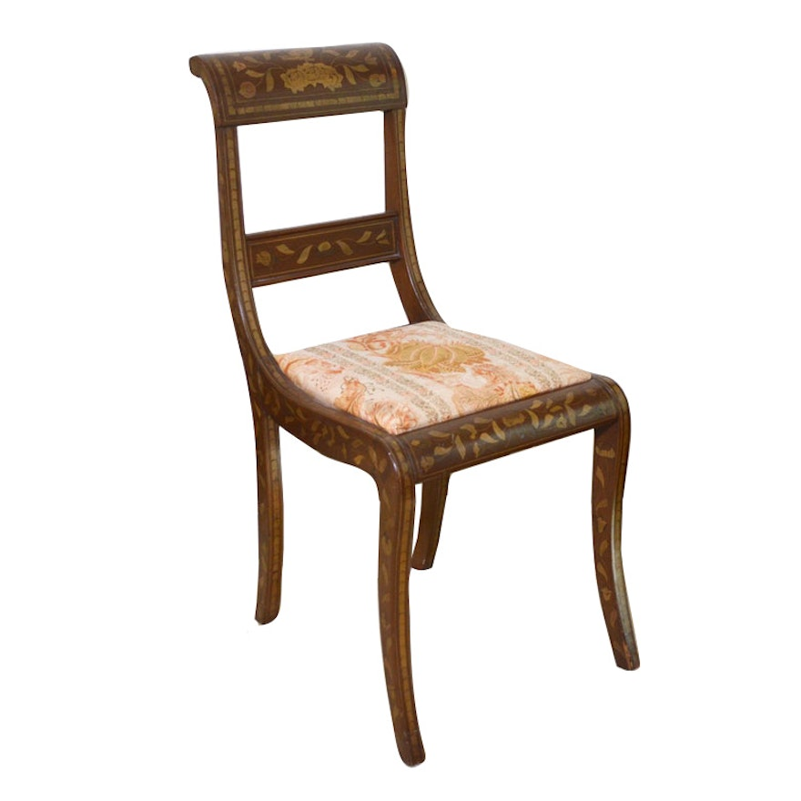 Dutch Marquetry Side Chair, Early 20th Century