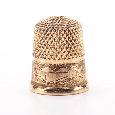 14K Yellow Gold Sewing Thimble with Mountain Landscape Scene, Vintage
