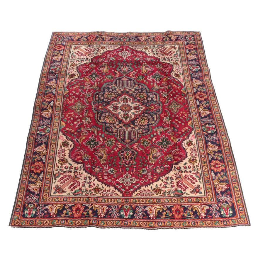 7'11 x 10'11 Hand-Knotted Persian Kashan Wool Rug