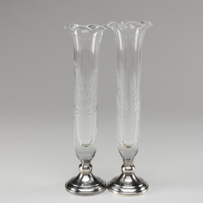 Web Sterling Silver and Etched Glass Bud Vases, Mid/Late 20th Century
