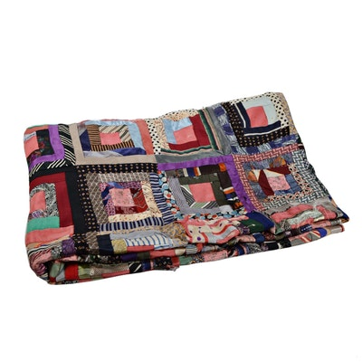 Handcrafted Twin Block Crazy Quilt Cover, Antique