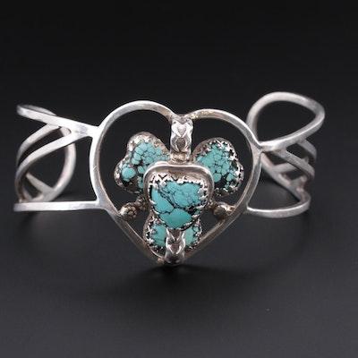 Southwestern Bill Kirkham Sterling Silver Turquoise Cuff Bracelet