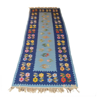 2'7 x 8'6 Handwoven Floral Wool Runner