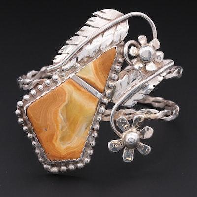 Southwestern Bill Kirkham Sterling Silver Agate Floral Cuff Bracelet
