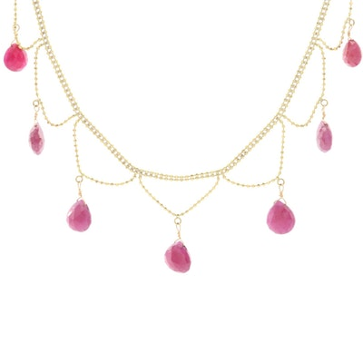 18K Yellow Gold Ruby Festoon Necklace
