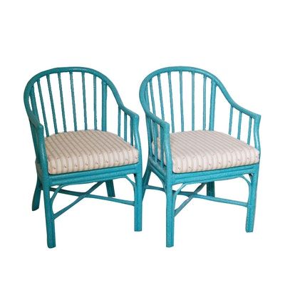 Turquoise Painted Bamboo Chairs From Chester's Road House, Set of Two